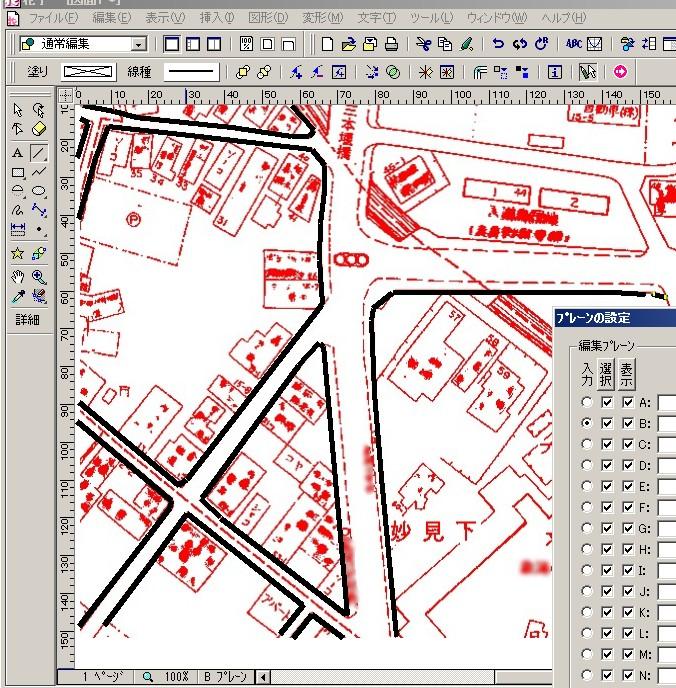 描画ソフトで地図をなぞる